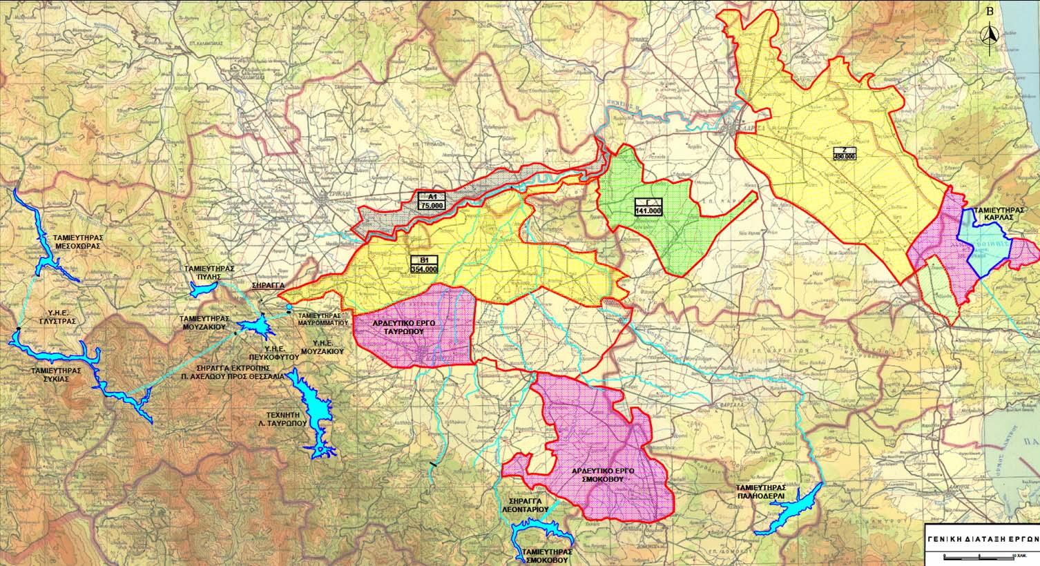 Χάρτης Λ. Λαζαρίδη - Διάταξη αρδευτικών έργων Θεσσαλίας